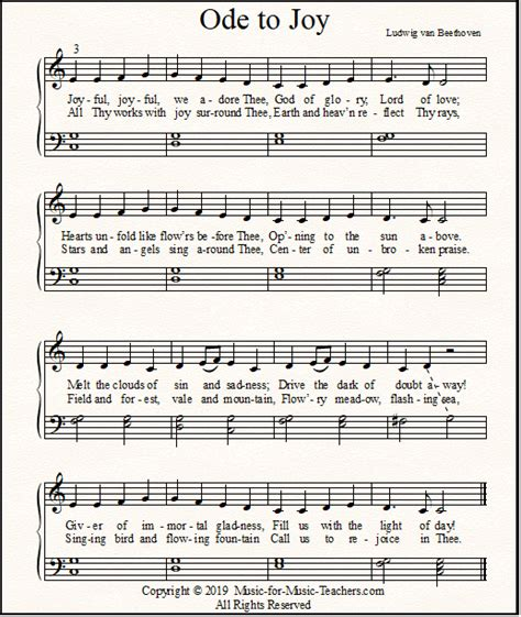 Ode to Joy Sheet Music for Piano, Easy Beginner to Advanced