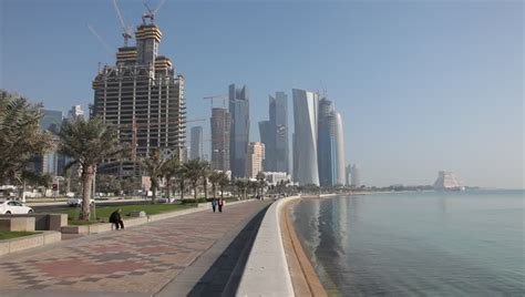 Corniche in Doha, Qatar Stock Footage Video (100% Royalty