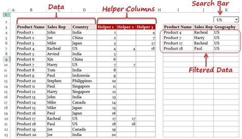 Dynamic Excel Filter Search Box (Extract data as you Type)