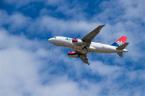 Airserbia Airplane Airbus A320 In The Parking Position On