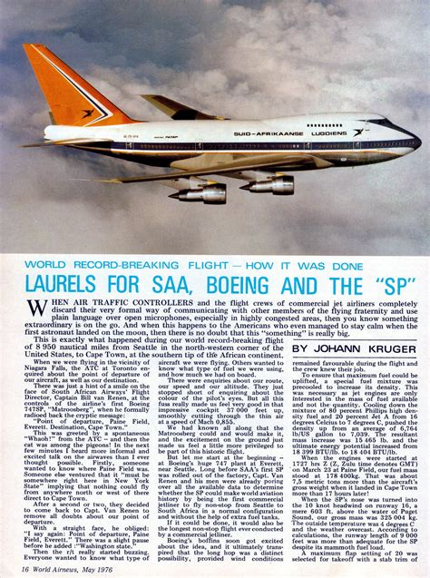 Page 1 May 1976 World Airnews article of SAA 747 SP ZS-SPA