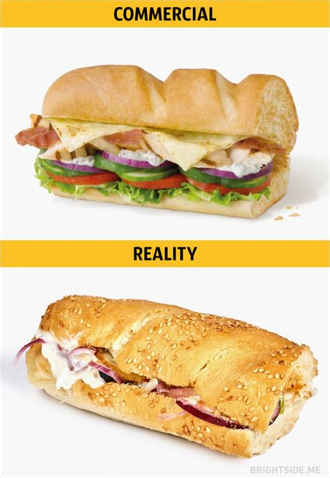 Expectation Versus Reality, Photos Of Junk Food As Seen On TV