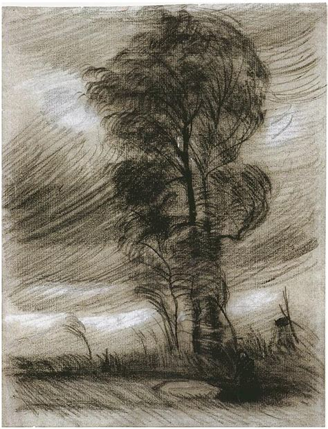 Landscape in Stormy Weather by Vincent Van Gogh - 1098