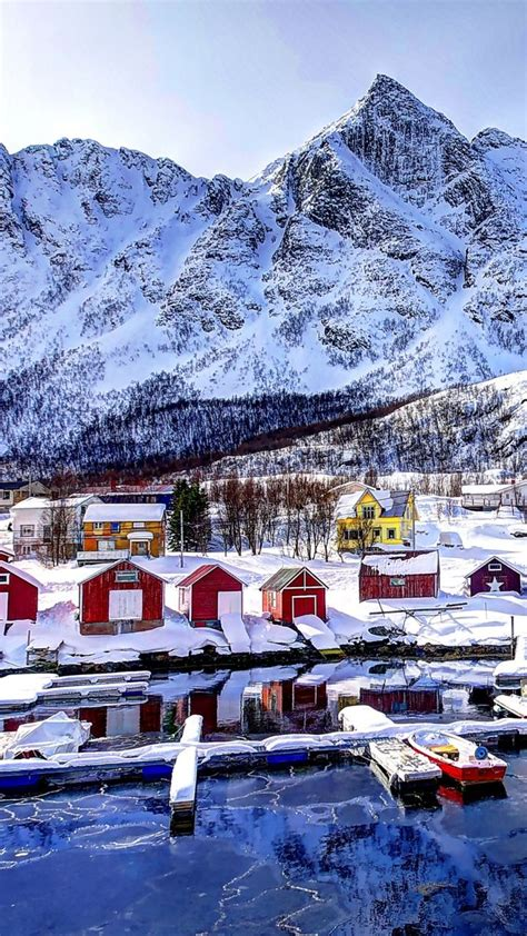 Download Wallpaper 720x1280 norway, mountains, buildings