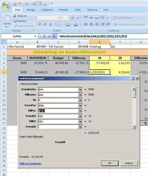 Netred AB - Excel Funktion - Monitor Saldo