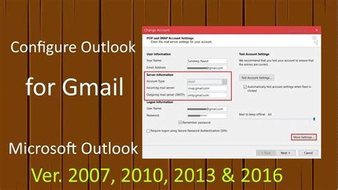 Configure Outlook for Gmail in Office 2007, 2010, 2013