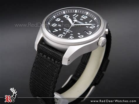 BUY Seiko Kinetic Black Dial 100M Nylon Strap Military