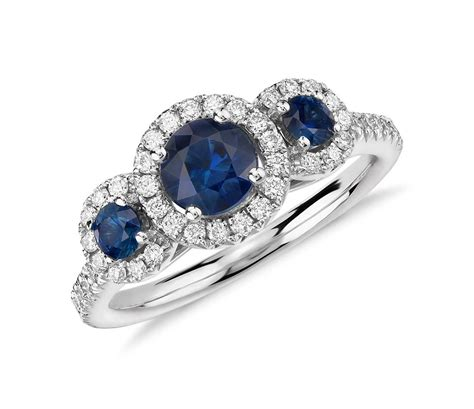Isola Sapphire and Diamond Halo Three Stone Ring in 14k
