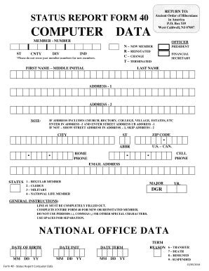 Fillable Online RETURN TO STATUS REPORT FORM 40 COMPUTER