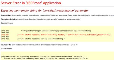Expecting non-empty string for 'providerInvariantName