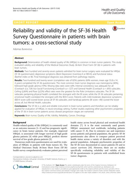 (PDF) Reliability and validity of the SF-36 Health Survey